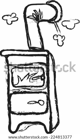 doodle pot bellied stove - stock vector