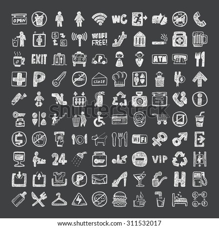 doodle public sign icons - stock vector