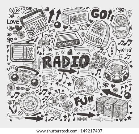 doodle radio elements - stock vector