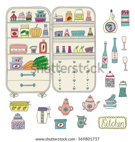 Doodle refrigerator with food drawn by hand. Vector illustration. - stock vector