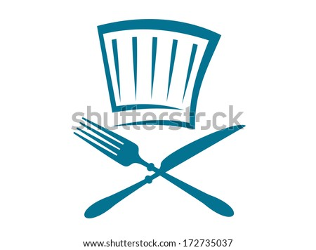 Doodle restaurant or cafeteria sign logo with a crossed knife and fork below a glass in blue on a white background - stock vector