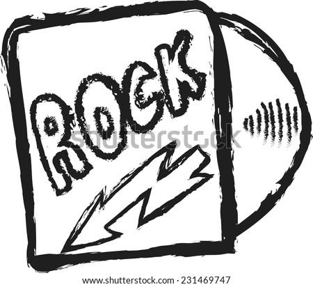 doodle rock music cd cover vector - stock vector