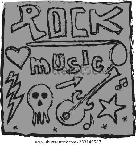 doodle rock music design elements, vector - stock vector