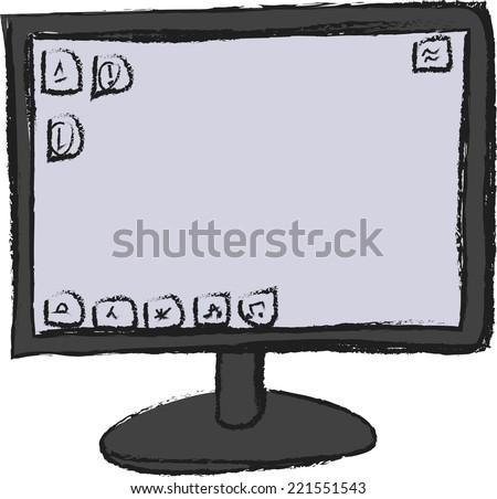 doodle screen computer - stock vector