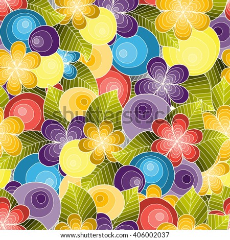 Doodle seamless background in vector with doodles, flowers and paisley. Vector ethnic pattern can be used for wallpaper, pattern fills, covers and books. Colorful version. - stock vector