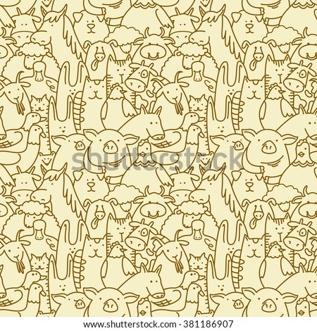 Doodle seamless background with farm animals - stock vector