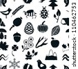doodle seamless nature pattern - stock vector