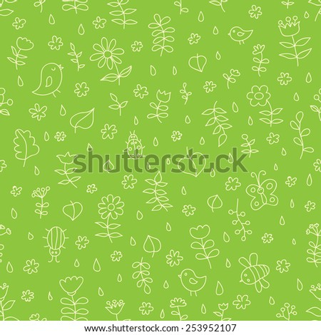 Doodle seamless nature pattern. Ideal for: scrapbooking, wrapping paper, children's textiles, wallpaper, websites, blogs, cards and much more - stock vector