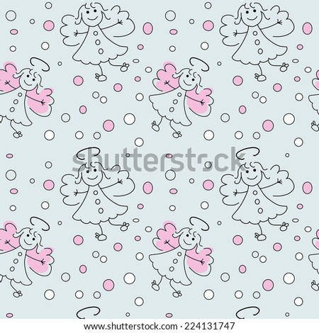 doodle seamless pattern with angels - stock vector