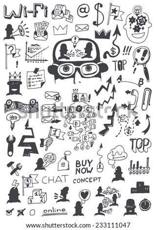 Doodle set - business - stock vector