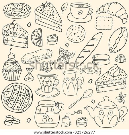 Doodle set - coffee, bakery,  tea, sweets - stock vector