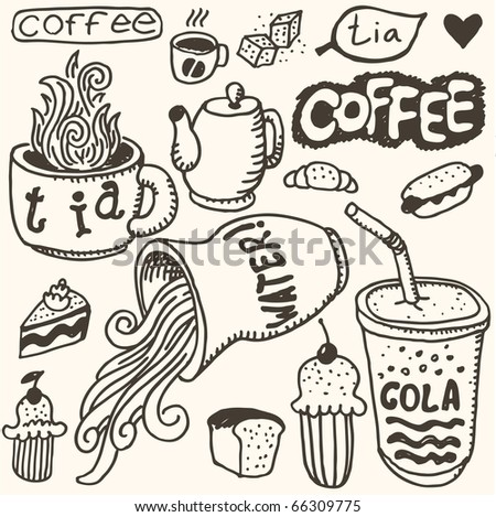 doodle set - food & coffee - stock vector