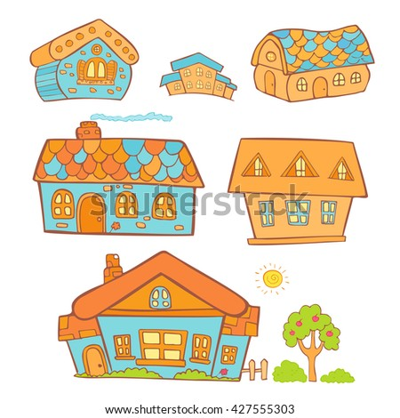Doodle set of colored hand drawn buildings in cartoon style. Vector illustration. Sketches of houses. Isolated on white. - stock vector