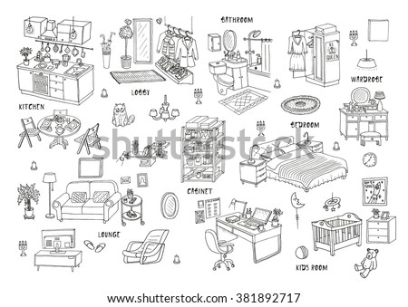 Doodle set of different interior hand drawn sketch, vector illustration. Isolated - stock vector