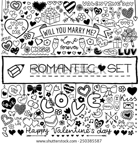 Doodle set of hearts, arrows, bows, presents, flowers etc. Design elements for Valentine's Day, wedding invitation, baby shower, birthday card etc. Vector illustration. - stock vector