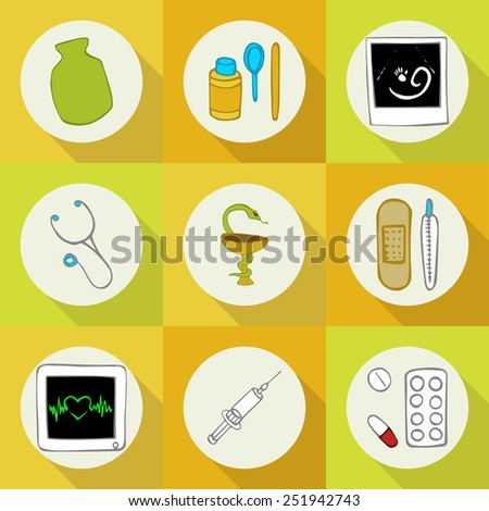 Doodle set of icons profession (medicine) - stock vector
