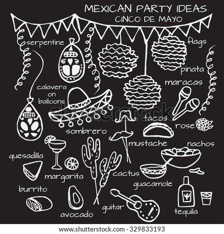 Doodle set of Mexican party ideas, Cinco de Mayo elements, Mexico fiesta - stock vector