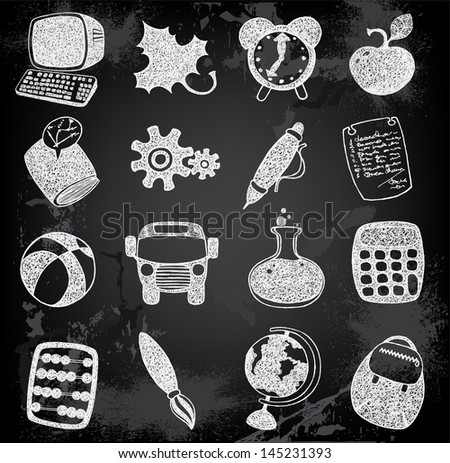 Doodle set of school and education icons - stock vector