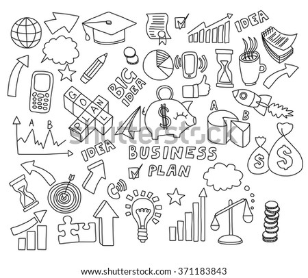 Doodle set of vector business icons  - stock vector