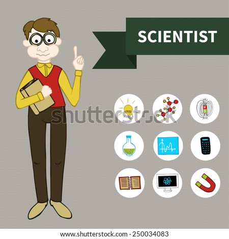 Doodle set Scientist (9 icons) - stock vector