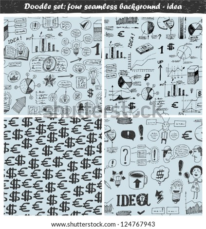doodle set - seamless backgrounds - idea - stock vector