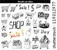 Doodle set - shop - stock vector