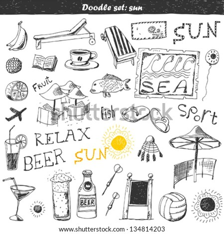 Doodle set : travel - stock vector