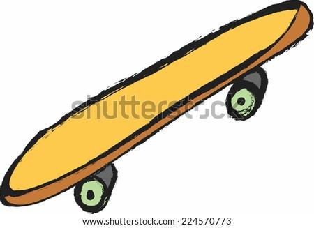 doodle skateboard - stock vector