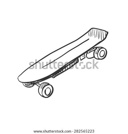 Doodle skateboard, excellent vector illustration, EPS 10 - stock vector