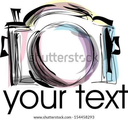 doodle sketch digital camera whimsical illustration - stock vector