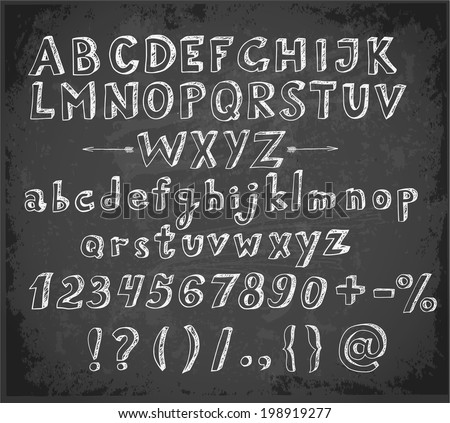 Doodle sketch font on blackboard - stock vector