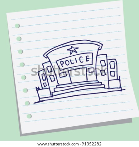 doodle sketch illustration of police office - stock vector