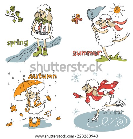 Doodle Sketch in the style of children's hand drawing. Cute sheep girl in time of year. Spring ,summer,autumn,winter Funny animal.Vectordesign template - stock vector