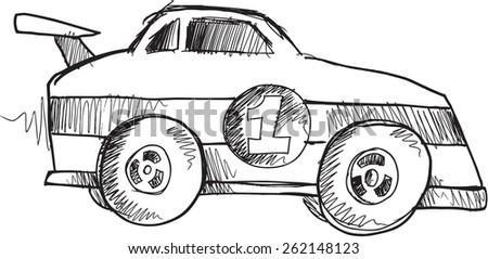 Doodle Sketch Race Car Vector Illustration Art - stock vector