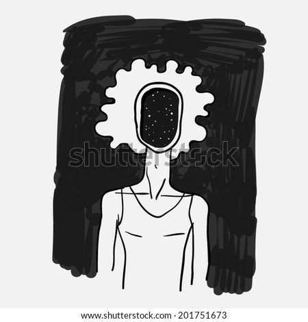 Doodle sketch style, a man with a dark face. Mysticism. Vector illustration - stock vector