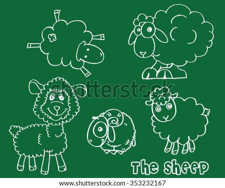 Doodle Sketchy Sheep Lamb or happy Sheep illustration - stock vector