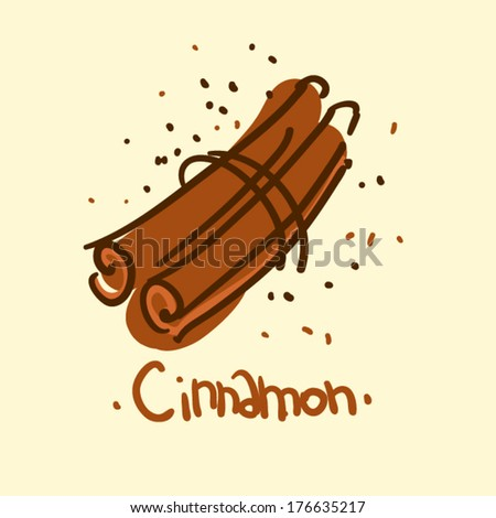 Doodle sketchy simple vector illustration: food, cinnamon - stock vector