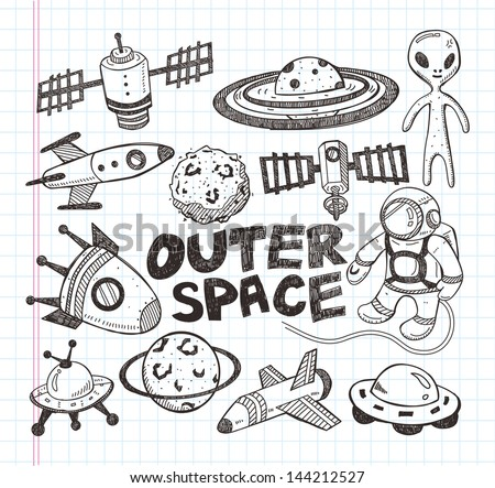 doodle space element icons, illustrator line tools drawing - stock vector