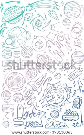 Doodle space element.Sketchy vector hand drawn white  doodles cartoon set of Space objects and symbols - stock vector