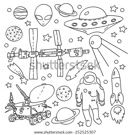 Doodle space elements collection in black and white: ISS, moonwalker, planet, comet, moon, astronaut, alien, UFO. Vector illustration - stock vector