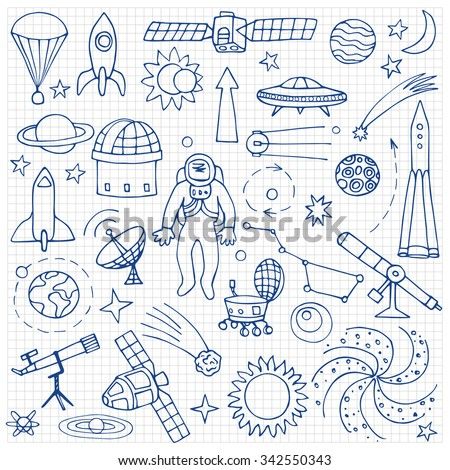 Doodle space elements on squared paper. Vector illustration with hand drawn doodle space elements - stock vector
