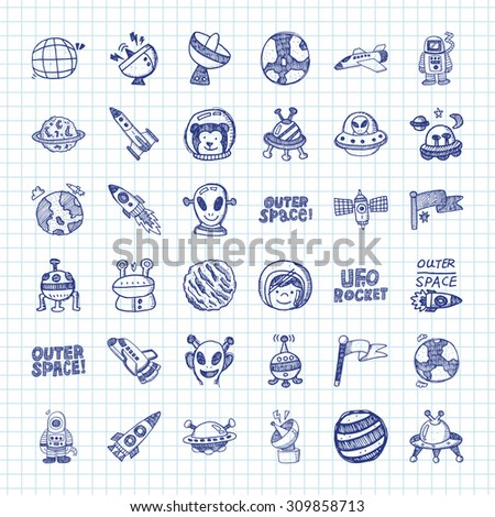 doodle space icons - stock vector