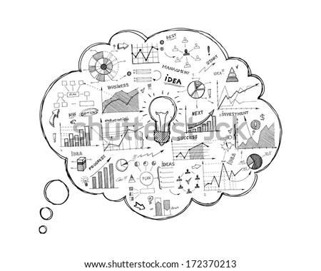 Doodle speech bubble icon with infographics isolated vector illustration - stock vector