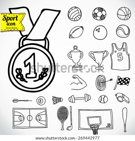 Doodle sports icon. Vector illustration. - stock vector