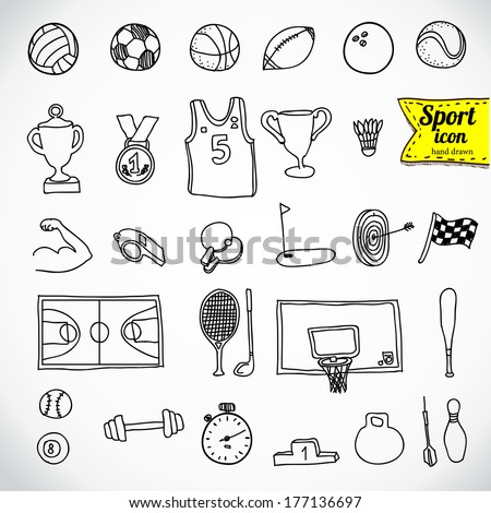Doodle sports icon. Vector illustration. Sketchy illustration hand drawn, vector object isolated, realistic image - stock vector