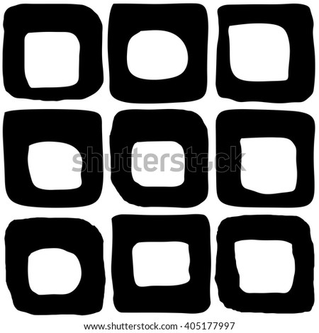 Doodle squares abstract seamless vector pattern - stock vector