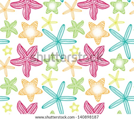 Doodle starfish seamless pattern. - stock vector