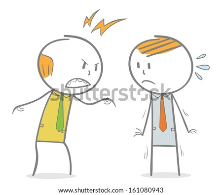 Doodle stick figure: Boss shouting his employee - stock vector