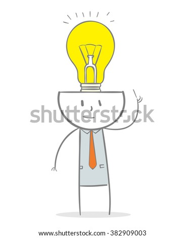 Doodle stick figure: Business man with brain full of ideas concept - stock vector