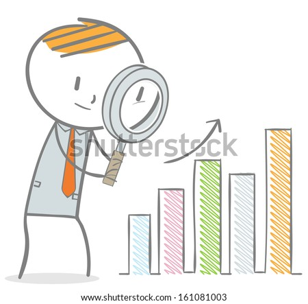 Doodle stick figure:Businessman with magnifier analyzing bar charts - stock vector